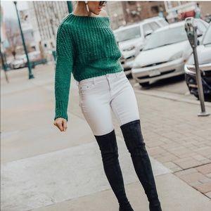 Green off shoulder sweater